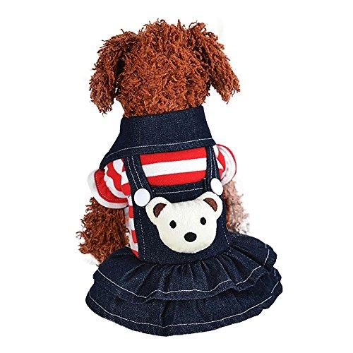 Hundewelpen Kleid, Herbst Winter Cute Doggy Kostüme,Denim Kleider Warme Streifen T-Shirt Strap Kleid,Denim Rock Hund Kleidung Kleidung (Rot, XS)