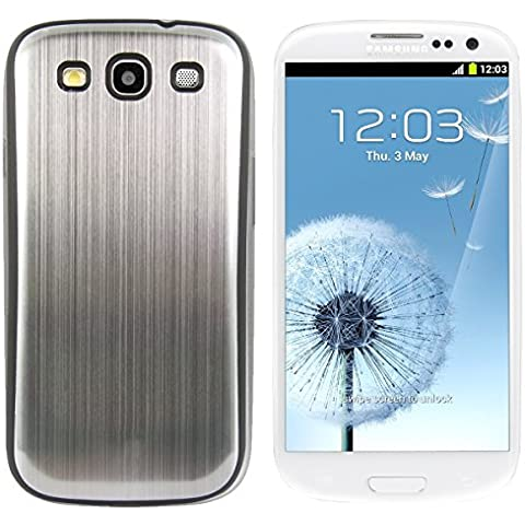 kwmobile Tapa de bateria de aluminio cepillado para el Samsung Galaxy S3 / S3 Neo, plata