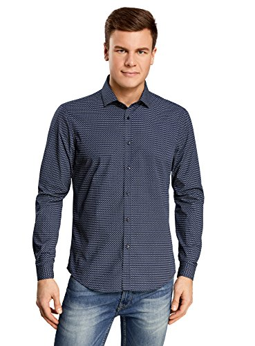 oodji Ultra Herren Hemd Slim Fit mit Druck Blau (7510G)