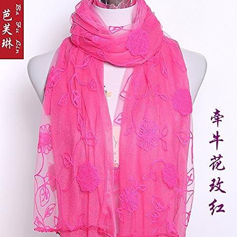 Upper-new double Sequins longue Écharpe de soie avec broderie Dentelle pour femmes écharpes, Morning glory red