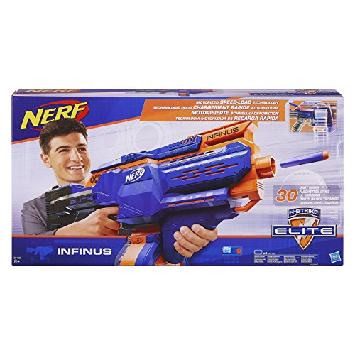 Nerf E0438EU4 N-Strike Elite Infinus Blaster with 30 Dart Drum, Multicolour Best Price and Cheapest