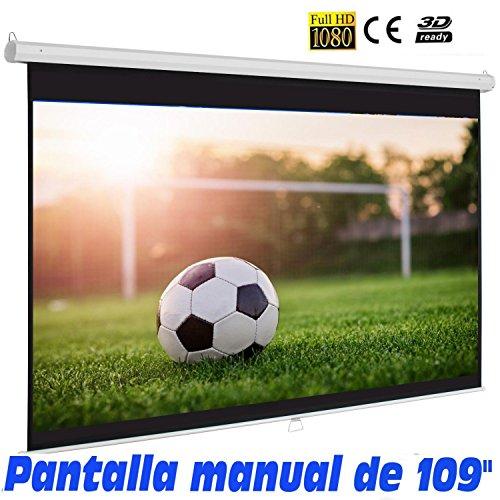"""Pantalla para proyector manual de 109""""para 3D"""