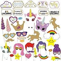 YHmall 43 Pcs Unicornio Photo Booth Props, Cumpleaños Cabina de Fotos Accesorios Photocall máscaras Gafas