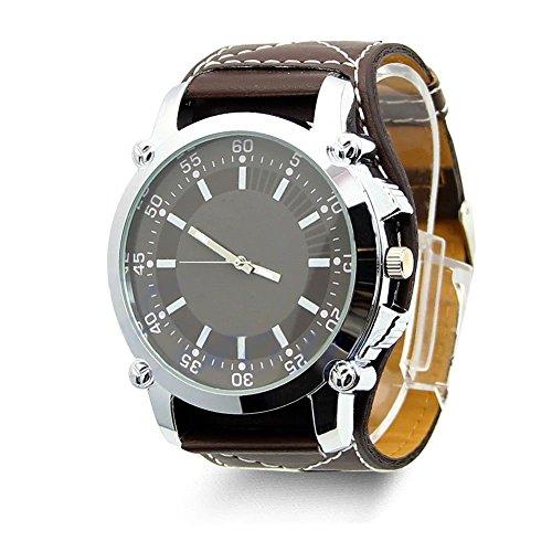 Creation® Uomini di modo della vigilanza di quarzo Acciaio Quadrante analogico di sport di lusso in pelle band orologi (caffè)