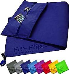 Fit-Flip 3-TLG Fitness-Handtuch Set mit Reißverschluss Fach + Magnetclip + extra Sporthandtuch | zum Patent angemeldetes Multifunktionshandtuch, Microfaser Handtuch (dunkelblau)