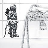 Boubouki Wasserabweisende Fliesenaufkleber TAUCHER | SMALL für Bad und Küche | 15 x 15 cm
