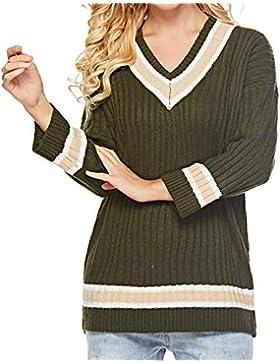 QinMM Mujer Otoño Invierno Jersey Pullover Suéter Punto Texturizado con Cuello en V Elegante Clásico Suéter Manga...