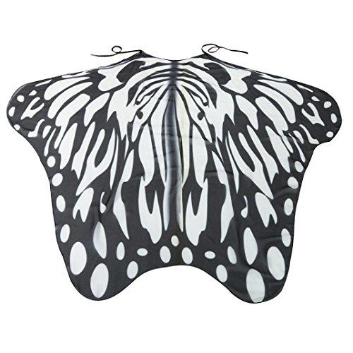 Damen Weicher Gewebe Schmetterlings Flügel Schal, Zolimx Nymphen Pixie Kostüm Zusatz (Schwarz 3) (Schwarzer Schmetterling Kostüme)