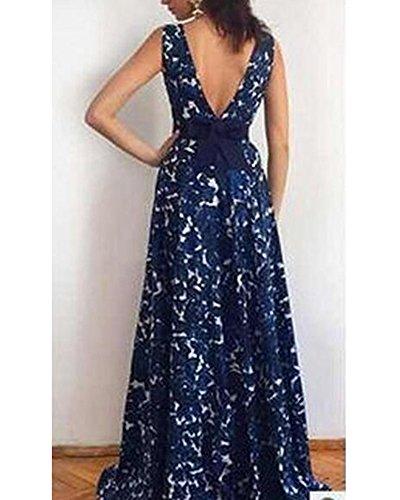Damen Elegant V-Ausschnitt Ärmellos Lang Abendkleid Festkleider Navy