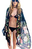Ichy Bikini in chiffon con zip Beach Dress aperto allentato Kimono Bikini Cover up (Nero 1)