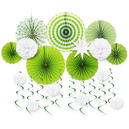 Grün Kommunion Taufe Deko Hochzeit Papier Rosetten Pompoms Weiß Spiralen Decken-Deko