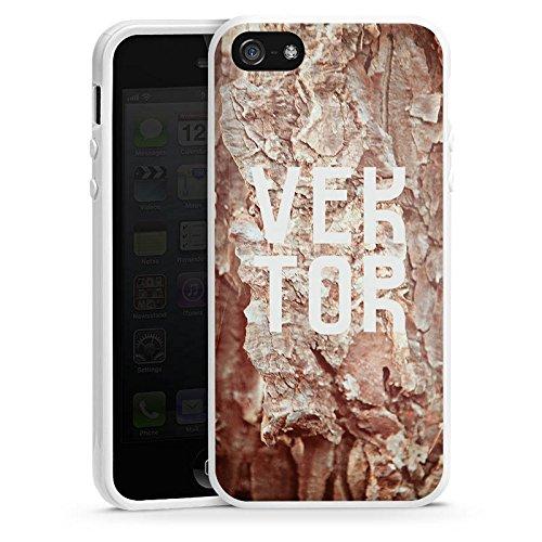 Apple iPhone 5s Housse Étui Protection Coque Grotte VEKTOR Pierres Housse en silicone blanc