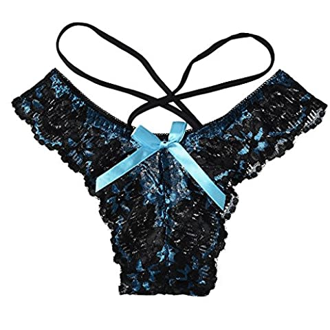 Blue Bow Lingerie Underwear Lace Thong Panties Hipster for Lady