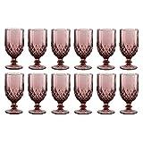 Lot de verres à vin en verre gaufré Améthyste rose 340 ml H16.5 x D8cm rose