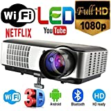 MYRA M06 Android LED Projector For Home / Office / School Android, Wi-Fi, Bluetooth, HD 1200*800, 2800 Lumens Full HD Play 1080P, Support Anaglyph 3D, USB, HDMI, VGA, AV
