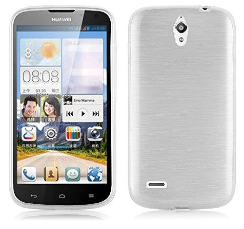 Cadorabo Hülle für Huawei Ascend G610 - Hülle in Silber – Handyhülle aus TPU Silikon in gebürsteter Edelstahloptik (Brushed) Silikonhülle Schutzhülle Soft Back Cover Case Bumper