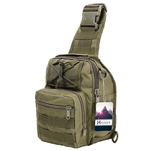 Hukoer zaino monospalla uomo militare casuale portabile impermeabile all'aperto borsa per viaggio trekking campeggio escursione (verde esercito)