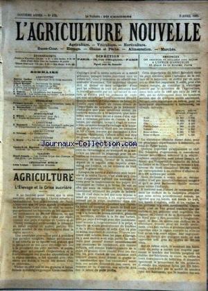 AGRICULTURE NOUVELLE (L') [No 572] du 05/04/1902 - AGRICULTURE PAR VACHER - BERTHOT - VIMEUX ET DISSARD - HORTICULTURE PAR MOTTET - VITICULTURE PAR GERVAIS ET BATTANCHON - APICULTURE PAR HOMMELL - ARBORICULTURE PAR TRICAUD - SYLVICULTURE PAR HENRY - LE TOURTEAU DE SESAME PAR MANTEAU - LES RAINETTES PAR COUPIN