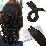 Moresoo 14 Zoll 120 Gramms 7 Stück Dunkelbraun 2# Glatt Full Head Brasilianer Remy Haarverlangerung Echthaar Extensions Clip in Tressen Haarverlängerung Echthaar Extensions
