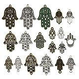 Juego de 36 abalorios de mano de Hamasa, color plateado y bronce, para bisutería, artesanía, bricolaje, granja, metal, suministros de colgante, WM141