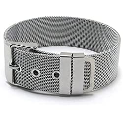 Beydodo Womens Stainless Steel Bangle Bracelet Mesh Chain Link Watch Band, Silver, 20.8*1.8CM