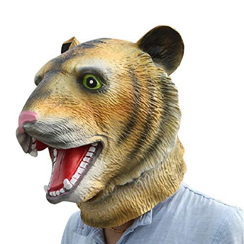 Masques pour Adultes Masque en Latex Masque de Masque pour Casque respectueux de l'environnement Masque en Latex Masque Animal Headgear Big Tigre Masque Headgear, Latex, Jaune, Taille Unique