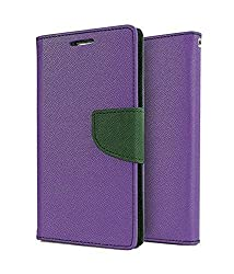 Classico Universal New Luxury Mercury Wallet Card Dairy Slot Style Flip Cover Compatible For Acer Liquid Z200 (Purple)