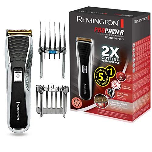 Remington Haarschneidemaschine HC7150 (LED-Ladekontrollanzeige, titanbeschichtete Klingen,17 Längeneinstellungen +2 Aufsteckkämme, Netz-/Akkubetrieb, Lithium) Haarschneider ProPower Titanium Plus