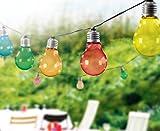 LED Party Lichterkette mit 10x bunten Leuchten in Glühbirnenform ca. 8m Länge TG3208