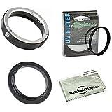 Maxsimafoto–AI 52MM Envers et bague adaptateur objectif arrière Support Kit de bague de protection avec filtre UV pour Nikon AI–F Support.
