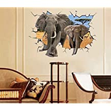 UberLyfe 3D Elephant Art Wall Sticker Size 7 (Wall Covering Area: 66cm x 98cm) - WS-001361-A