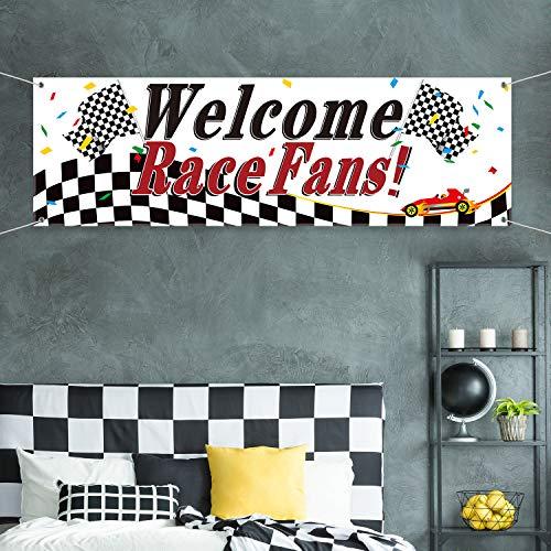 Rennen Partei Dekorationen, Welcome Rennen Fans Banner Rennen Partei Lieferanten Rennen Wagen Banner Girlande Hintergrund Foto Stand Requisiten Rennwagen Geburtstag Partei Dekor