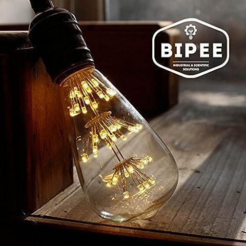 3W E27 ST64 Vintage Retro Edison LED Light Bulb - 40W Equivalent - Warm White 2700K - 220V-240V - Non-dimmable - 1 Pack - by BIPEE