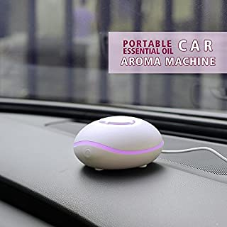 Essential Oil Car Diffuser, Portable USB or Battery Powered by Essence of Arcadia, Waterless Aromatherapy Diffuser for Car, Office, Travel, Home and Spa - White