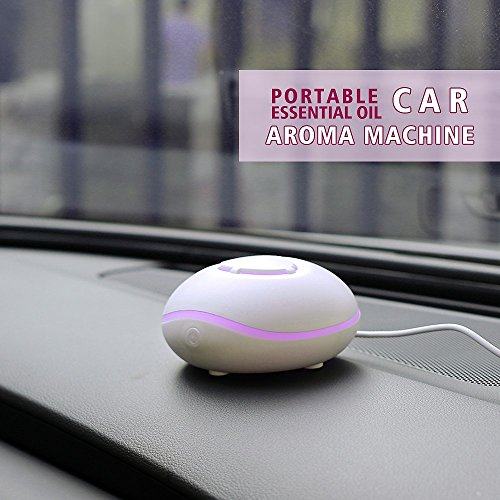 Diffuseur d'huile essentielle portable USB ou alimenté par pile par Essence d'Arcadia, diffuseur d'aromathérapie sans eau pour voiture, bureau, voyage, maison et spa - blanc