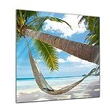 Glasbild - Palme - Hängematte - 50 x 50 cm - Deko Glas - Wandbild aus Glas - Bild auf Glas - Moderne Glasbilder - Glasfoto - Echtglas - kein Acryl - Handmade