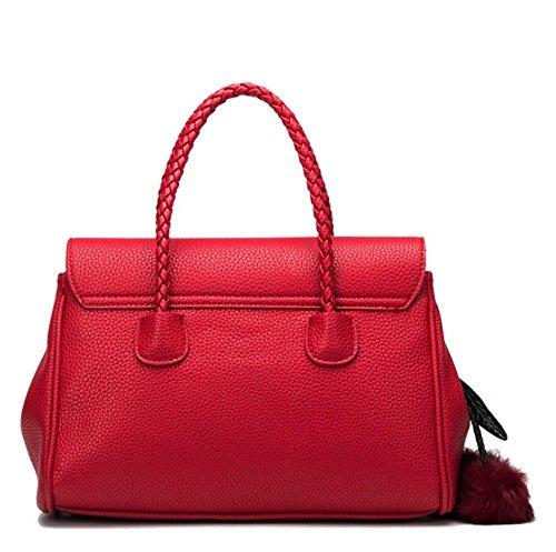 LF&F Backpack Luxus Leder Handtasche Schulter diagonal Damen-Tasche formale Erholung Party Hochzeit im Freien Büro Beruf Abend-Pack besondere Anlass Red
