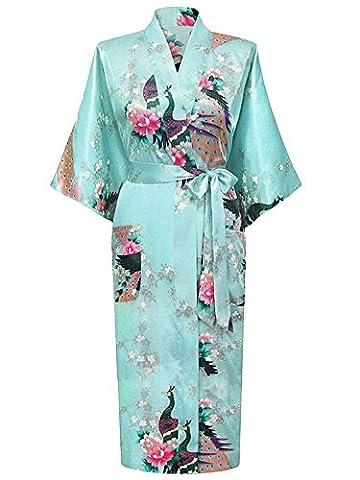 Cityoung-Kimono Japonais en Satin Sexy Robe de Chambre Peignoir-Femme (Azur,L)