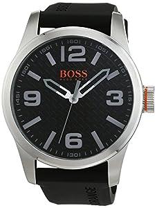 Hugo Boss 1513350 Orange - Reloj analógico de pulsera para hombre, correa de silicona de BOSS Orange