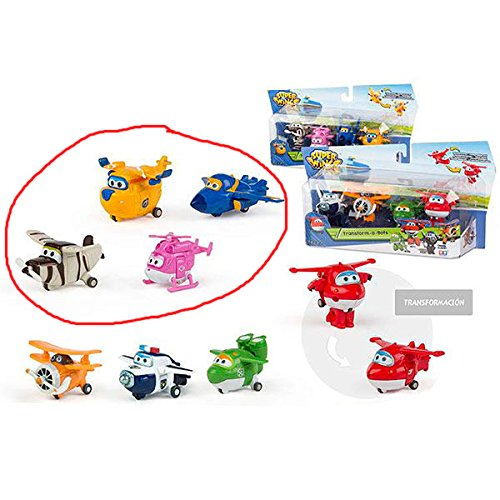 ColorBaby - Super Wings - Dizzy, Donnie, Jerome, Bello - Pack 4 Transform-a-Bots