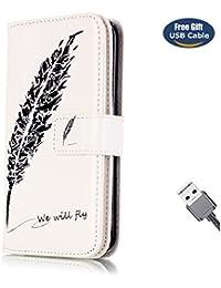 Funda Galaxy S6 Edge,Funda Cover Galaxy S6 Edge,Aireratze Slim Case de Estilo Billetera Carcasa Libro de Cuero,Carcasa PU Leather Con TPU Silicona 10 ranuras para tarjetas de gran capacidad fuerte cierre magnético Case Interna Suave [Función de Soporte] [Ranuras para Tarjetas y Billetera] [Cierre Magnético] para Samsung Galaxy S6 Edge (Pluma Pluma) (+ Cable USB)