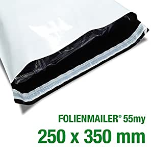 100 Folienmailer® Versandbeutel C4: Plastik Versandtaschen 250x350mm, selbstklebend und blickdicht, Versandtüten aus Plastik für Kleidung und Textilien