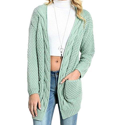 CNFIO Pullover Damen Strickjacke Lässig Casual Cardigan Langarm Outwear mit Taschen Mantel Jacke Winter Hellgrün XXL Grüne Cord Jumper