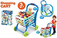 Popsugar - TH008-903A Shopping Cart with Fruits, Vegetables and Other Accessories, Blue