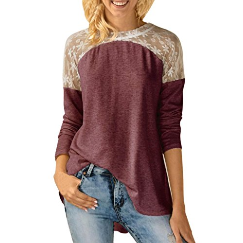 Spitze Langarm Shirt Damen, Sunday Womens O Neck Spitze Langarm Bowknot Blume Bcak Bluse Tops T-Shirt Neues Design Frühling Langarmshirt (S-XXL) (Rot, S) (Rote Spitze Spitze-gelbe)