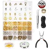 Schmuckherstellung Set, ARTISTORE 900 PCS Schmuck Zubehör Werkzeug, Schmuck Reparatur Kit mit Schmuckdraht, Kette und Zubehör - 3 Farben, 24 verschiedene Stile