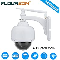 FLOUREON Caméra IP sans Fil PTZ Extérieur 1080P Caméra de Surveillance Etanche PTZ Zoom 4X 2.8-12mm IR-CUT Vision Nocturne Détection de Mouvement Envoi Alarme par Mail Vision à Distance par PC Smartphone P2P Support Carte SD 128Go Max.
