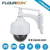 FLOUREON Caméra IP sans Fil PTZ Extérieur 1080P Caméra de Surveillance Etanche PTZ Zoom 4X 2.8-12mm IR-CUT Vision Nocturne Détection de Mouvement Envoi Alarme par Mail Vision à Distance par PC Smartphone P2P Support Carte SD 128Go Max.