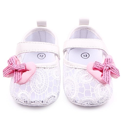 Mädchen Baby Schuhe Anti-Rutsch weiches Solekleinkind Lauflernschuhe für 0-12 Monate Weiß