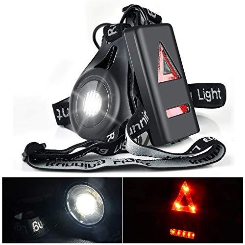 FUMENTON Lauflicht, USB wiederaufladbare LED-Brust-Taschenlampe, wasserdicht, mit 3 Modi, Verstellbarer Gurt für Nachtläufer, Jogger, Angeln, Comping, Klettern